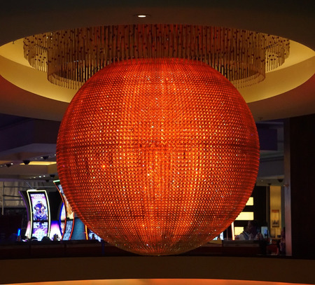 Las Vegas, Nevada: May 11, 2018:  The Colorful Sphere lit up in bright Orange and Red  in Planet Hollywood Hotel and Resort