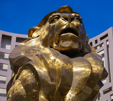 Las Vegas, Nevada: May 11, 2018: A close up view of the Head of the Lion Statue at MGM Grand Hotel and Casino