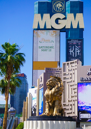 Las Vegas, Nevada: May 11, 2018:  The Lion Statue and sign in front of the MGM Grand Hotel and Casino