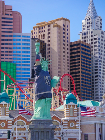 Las Vegas, Nevada: May 11, 2018:  Buildings, Roller Coaster and Statue of Liberty Replica at New York New York Hotel and Casino