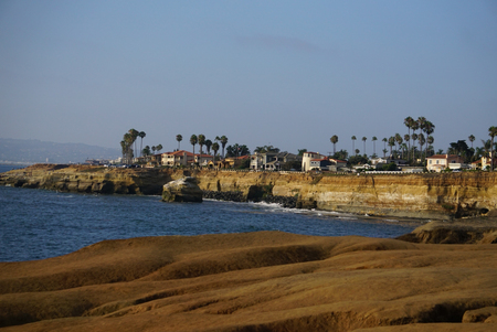Views of the Pacific Ocean off the California Coast at Sunset Cliffs Natural Park near La Jolla Beach and San Diego. Stockfoto