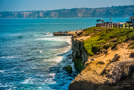 A view off the cliffs of La Jolla Cove and the Pacific Coast Highway near San Diego California