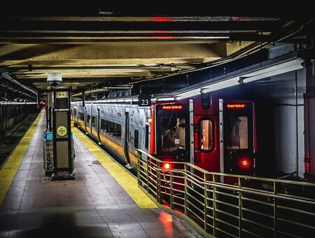 New York City, NY USA:  December 1, 2018 - A Train waiting at Platform 23 in the Subway of Grand Central Station