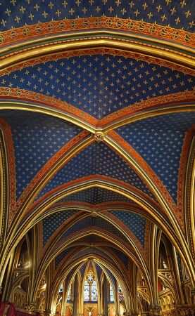Paris, France - August 3,2019:  Interior view of the first floor of the Sainte-Chapelle, a Gothic Style Royal Chapel in the center of the city