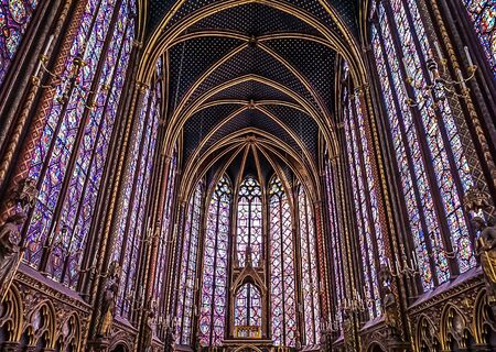 Paris, France - August 3,2019:  Interior view of the second floor of the Sainte-Chapelle, a Gothic Style Royal Chapel in the center of the city