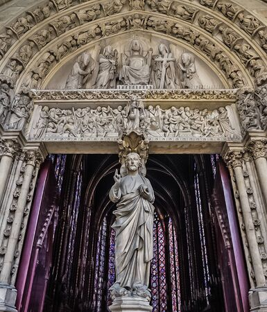Paris, France - August 3,2019:  Exterior view of the Sainte-Chapelle, a Gothic Style Royal Chapel in the center of the city