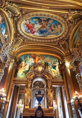 The interior of the Palais Garnier, an opera house in Paris France