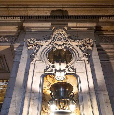 The interior entrance of the Palais Garnier, an opera house in Paris France