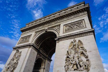 Famous Arc de Triumph during the day in Paris France 免版税图像