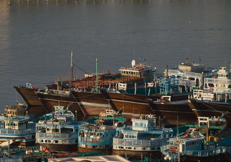 Trade Ships Docked in Dubai Banco de Imagens