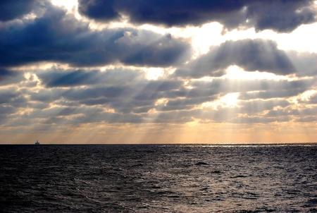 Dawn at an Oil Rig photo