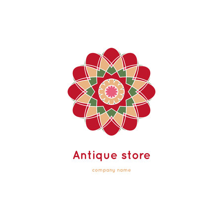 Decorative flower element. Ornamental vector symbols. Circle colorful icon. Isolated abstract colorful vector . Vector vintage mandala . Kaleidoscope flower. Illustration