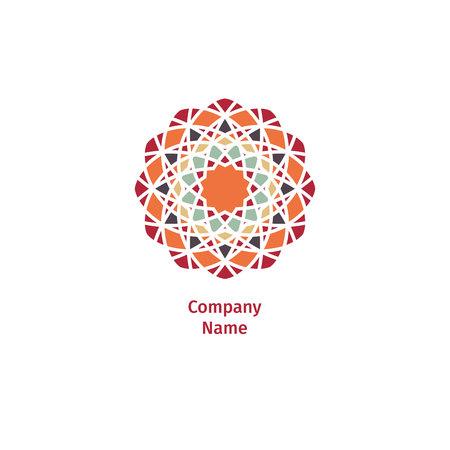 Decorative flower element. Ornamental vector symbols. Circle colorful icon.