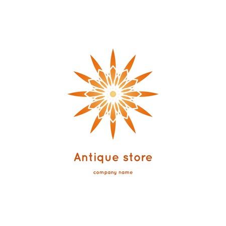 Luxury logotype for antique store. Ornamental vector symbols. Volumetric golden big bud. Isolated abstract colorful vector logo. Vector vintage mandala logo. Kaleidoscope flower. Illustration