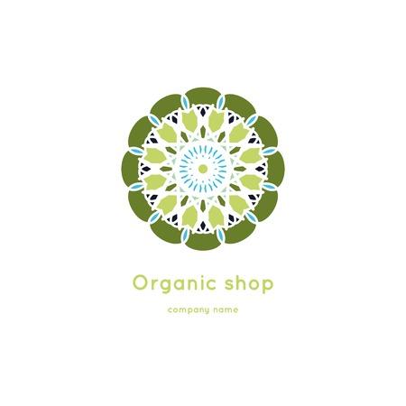 Beautiful circular logo for organic products, cosmetics, boutique, flower shop.Eco shop. Vector vintage mandala logo. Kaleidoscope flower.