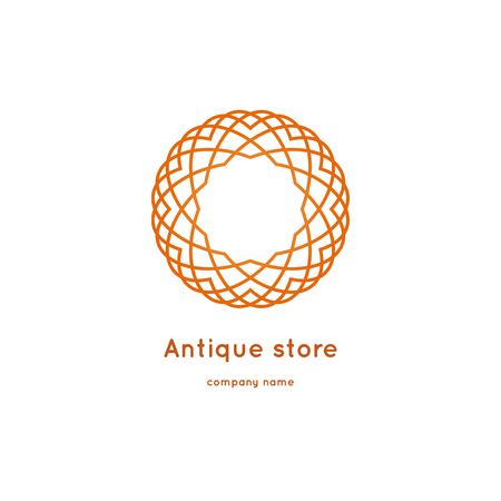 Luxury logotype for antique store. Ornamental vector symbols. Volumetric golden big bud. Isolated abstract colorful vector logo. Vector vintage mandala logo. Kaleidoscope flower
