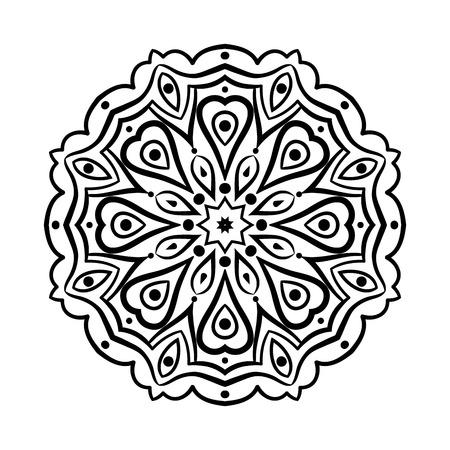 Mandala. Ethnic decorative elements. Hand drawn background. Islam, Arabic, Indian, ottoman motifs. Vintage decorative elements. Oriental pattern. Monochrome contour mandala. Zentangle. Illustration