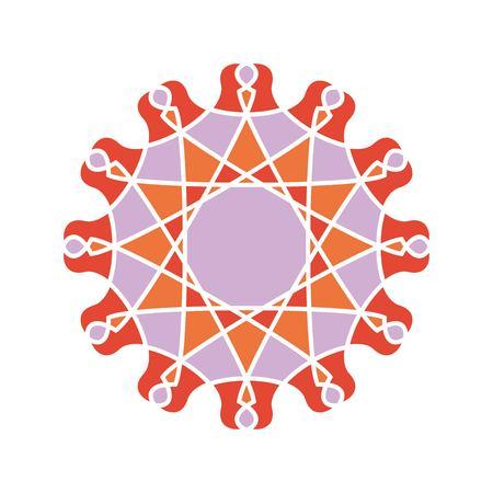 Geometric mandala.Oriental pattern illustration. Flower circular ornament. A stylized mandala. Beautiful ethnic, kaleidoscope big bud. Stylized lace ornament. Vintage Illustration