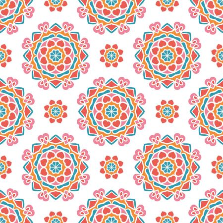 Vintage seamless pattern. Bright floral background, ornament, drawing. Retro nature print. Ethnic colorful ornaments. Kaleidoscope big bud. Arabic, Indian, ottoman motifs. Floral textile.