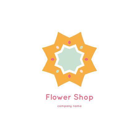 Bright and juicy beautiful circular logo for organic shop, eco product, cosmetic, business. Company mark, emblem, element. Nature geometric mandala logotype. Big bud