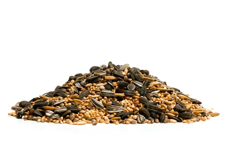 Pile of mixed food for winter feeding garden birds on a white background photo