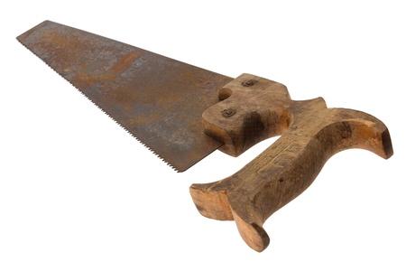 serrucho: Viejo y oxidado transversal sierra de mano con mango de madera