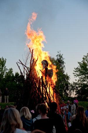 Traditional Midsummer Sankt Hans fire in Denmark