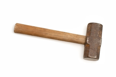 old sledge hammer  with wooden handle on a white background photo