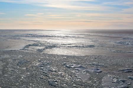 Photo of backlit sea covered with ice