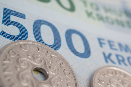 Close up of danish kroner, coins and bank notes Stock Photo