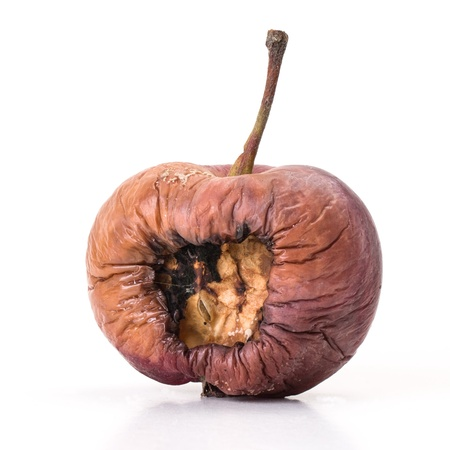 Old brown and rotten apple on white background photo