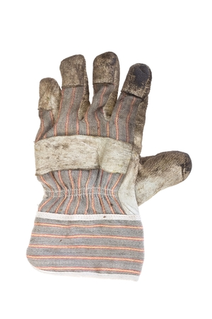 Dirty left hand working glove back on white background photo