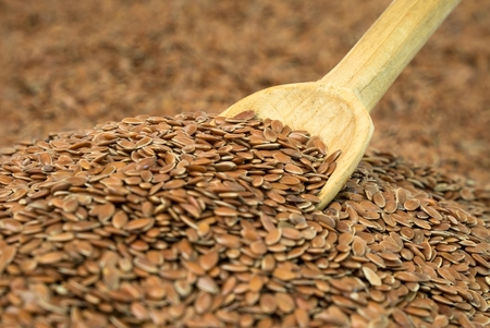 flaxseed: Close up of a wooden spoon planted in linseed
