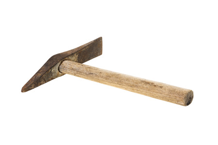 pickaxe: Old and rusty welding or chipping hammer isolated on white background