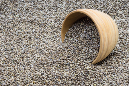 hemp hemp seed: Wooden bowl with hemp seeds turned over on a hemp seed background