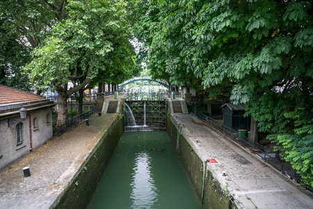 canal lock: Canal lock in the Saint-Martin canal in Paris France Stock Photo