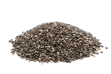 Pile of chia seeds close up on a white background
