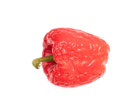 Side view of old wrinkled red bell pepper on white background