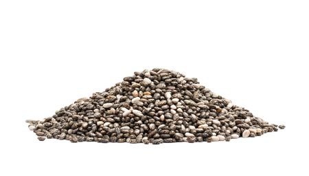 Pile of healthy chia seeds seen from low angle isolated on white background Stock Photo