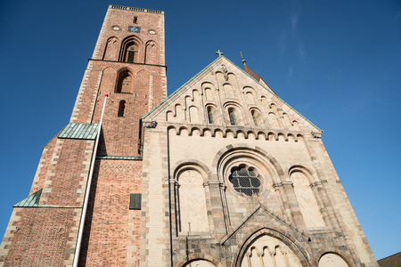 View of Ribe Cathedral in Denmark south Jutland from close distance photographed upwards