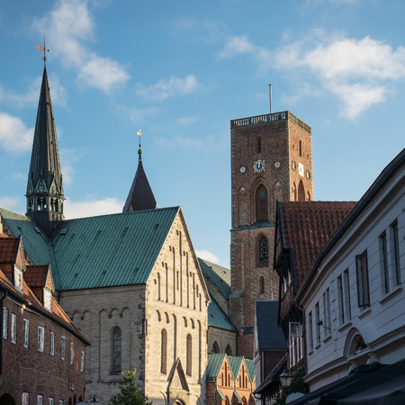 View to Ribe cathedral in Denmark south Jutland seen from the pedestrian street