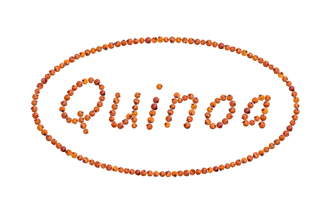 The word Quinoa written with red seeds inside an ellipse shaped frame and isolated on white background
