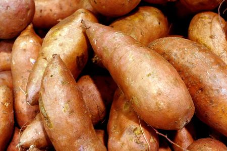 spud: Raw Sweet Potatoes Stock Photo