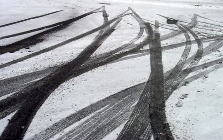 Skid Marks in Snow Stock Photo - 932965
