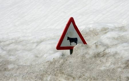 northern spain: Traffic sign covered by a lot of snow in Vall de Boi, a narrow, steep-sided valley and a small municipality in the province of Lleida, in the autonomous community of Catalonia, northern Spain Stock Photo