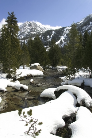 River shore snowy rocks in a route of trekking by Aiguestortes National Park, one of the fourteen Spanish National Parks, the second in the Pyrenees and the only one in Catalonia Stock Photo - 17067762
