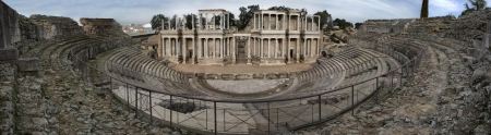 badajoz: Panoramic view of the roman theatre