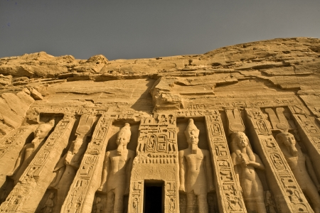 Facade of Temple of Queen Nefertari Stock Photo - 19456042