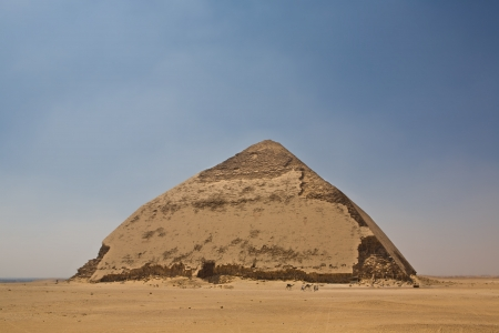 archaeologists: Ancient Egyptian pyramid located at the royal necropolis of Dahshur, built under the Old Kingdom Pharaoh Sneferu  c  2600 BC   A unique example of early pyramid development in Egypt, this was the second pyramid built by Sneferu
