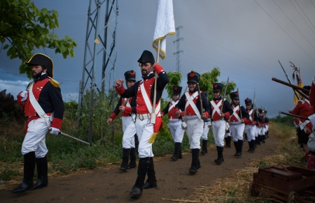 bayonet: French troops marching